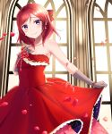 1girl bow braid breasts day dress gloves grey_gloves hand_up highres indoors looking_at_viewer love_live! love_live!_school_idol_project medium_hair mobukichi nishikino_maki petals red_bow red_dress redhead skirt_hold small_breasts smile violet_eyes window
