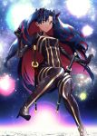 1girl absurdres black_eyes bodysuit clouds fate/grand_order fate_(series) high_heels highres huge_filesize ishtar_(fate)_(all) katana long_hair multicolored_hair space space_ishtar_(fate) sword two-tone_hair uso_ashio weapon