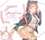 1girl backpack bag bangs black_legwear breasts character_name commentary_request danganronpa dated flipped_hair hair_ornament happy_birthday highres hood hoodie large_breasts looking_at_viewer miyuzu monomi_(danganronpa) nanami_chiaki pink_hair pink_neckwear pink_ribbon pleated_skirt ribbon shirt short_hair skirt smile super_danganronpa_2 thigh-highs white_shirt