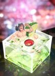 1boy black_hair blurry blush bokeh cocktail depth_of_field drunk fate/grand_order fate_(series) hair_over_one_eye highres koha-ace lime_slice male_focus masu nude okada_izou_(fate) open_mouth redrop sitting solo table textless wet