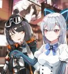 3girls absurdres armband black_bow black_gloves blue_bow blue_star blue_stripes blurry bob_cut bow bowtie braid brooch caws_(girls_frontline) character_doll character_request city commentary_request depth_of_field elbow_gloves eyelashes eyeshadow german_flag girls_frontline gloves goggles goggles_on_head hair_bow highres hood hooded_jacket jacket jewelry lez long_hair makeup multiple_girls night open_mouth outdoors partly_fingerless_gloves red_eyes red_eyeshadow shopping silver_hair ski_goggles smile striped tokarev_(girls_frontline) tsurime upper_body vertical-striped_gloves vertical_stripes yellow_eyes