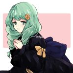 1girl bow closed_mouth cute fire_emblem fire_emblem:_fuukasetsugetsu fire_emblem:_three_houses fire_emblem_16 flayn_(fire_emblem) garreg_mach_monastery_uniform green_eyes green_hair hair_ornament intelligent_systems loli long_hair long_sleeves naho_(pi988y) nintendo simple_background solo twitter_username uniform