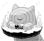 3others bardoon bug cloak closed_eyes commentary_request grass grey_cloak grimmchild hollow_eyes hollow_knight horns knight_(hollow_knight) lying mask multiple_others no_humans sango_(y1994318) simple_background sitting size_difference sleeping weapon white_background