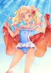 1girl aikatsu!_(series) aikatsu_stars! bangs blonde_hair blue_sky bow brown_eyes casual_one-piece_swimsuit collarbone commentary_request eyelashes gradient_hair hair_bow highres holding holding_towel katou_akatsuki looking_at_viewer multicolored_hair nijino_yume one-piece_swimsuit open_mouth sky smile solo standing sunlight swimsuit towel twintails