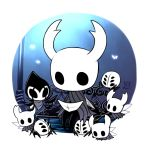 6+others bench bug cloak full_body glowing grey_cloak grimmchild holding holding_map hollow_eyes hollow_knight horns knight_(hollow_knight) lamppost looking_at_another map mask multiple_others nail night no_humans on_bench outdoors sango_(y1994318) simple_background sitting sitting_on_bench sword weapon white_background wings