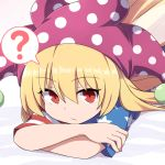 1girl ? arioridream blonde_hair close-up clownpiece fairy_wings hat jester_cap looking_at_viewer lying on_stomach polka_dot red_eyes solo spoken_question_mark star star_print striped touhou wings