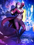 1girl alley bangs belt belt_buckle between_breasts black_gloves black_hair blunt_bangs boots bra breasts buckle coattails cosplay covered_nipples crimson_viper crimson_viper_(cosplay) crossed_ankles detached_collar full_body genzoman gloves grin han_juri knee_boots large_breasts long_coat looking_at_viewer multicolored_hair necktie necktie_between_breasts night pants pink_eyes pink_hair rain red_bra smile solo standing street_fighter street_fighter_v toned two-tone_hair underwear