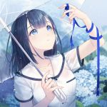 1girl bangs black_hair blue_eyes blue_ribbon blue_theme blush fingernails flower highres looking_at_hand looking_up medium_hair original rain ribbon ribbonari sailor_collar see-through shirt short_sleeves transparent transparent_umbrella umbrella wet wet_clothes wet_shirt white_shirt