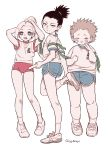 1girl 2boys adjusting_hair akimichi_chouji bike_shorts black_hair blonde_hair blue_eyes brown_hair buruma closed_eyes earrings from_behind gogglesyopeng gym_shorts gym_uniform highres jewelry long_hair looking_at_viewer looking_back multiple_boys nara_shikamaru naruto naruto_(series) plump ponytail shorts simple_background white_background yamanaka_ino