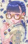 1girl bangs blue_hair braid cherico commentary_request dated earrings flower glasses gradient_hair jewelry lips long_hair looking_at_viewer multicolored_hair nail_polish original red_eyes ring semi-rimless_eyewear solo under-rim_eyewear white_nails