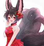 1girl :d ahoge amethyst_(gemstone) animal_ears bangs bare_arms bare_shoulders black_hair blush collar collarbone commentary_request cowboy_shot dress erune eyebrows_visible_through_hair fang flying_sweatdrops fox_ears fox_girl fox_tail gem granblue_fantasy hair_ornament hand_on_own_cheek hand_up highres looking_at_viewer multiple_tails open_mouth red_dress red_eyes rice_tea short_hair single_hair_intake sleeveless sleeveless_dress smile solo tail you_(granblue_fantasy)