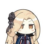 1girl arms_up azur_lane bangs black_flower black_rose blonde_hair blue_cloak blue_dress blush_stickers bunker_hill_(azur_lane) character_name chibi cloak commentary_request dress eyebrows_behind_hair flower hair_flower hair_ornament hair_over_one_eye high_collar jitome long_hair long_sleeves looking_at_viewer nejikirio_(style) parody parted_bangs rose sentinel_(ver20) simple_background solo style_parody underbust upper_body white_background