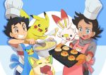 2boys absurdres apron black_hair blue_background blue_eyes brown_eyes chef_hat clenched_teeth dark_skin dark_skinned_male drooling facial_mark food gen_1_pokemon gen_8_pokemon gou_(pokemon) hat highres male_focus mixing_bowl muffin multiple_boys official_art open_mouth oven_mitts pikachu pokemon pokemon_(anime) pokemon_(creature) pokemon_swsh_(anime) satoshi_(pokemon) scorbunny shirt spatula t-shirt teeth tray upper_teeth whisk white_day yamper yasuda_shuuhei