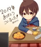 1boy bowl brown_eyes brown_hair controller eyebrows_visible_through_hair food fruit hair_between_eyes highres hood hoodie kotatsu male_focus mandarin_orange meranoreuka_(naokentak) orange original remote_control solo table television under_kotatsu under_table