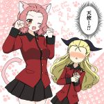 2girls ;d animal_ears assam_(girls_und_panzer) black_ribbon black_skirt blonde_hair blush brown_eyes cat_ears cat_tail commentary epaulettes fang girls_und_panzer hair_pulled_back hair_ribbon hands_on_own_chest heart highres ichinose_jun insignia jacket kemonomimi_mode long_hair long_sleeves looking_at_another looking_at_viewer medium_hair military military_uniform miniskirt multiple_girls no_eyes one_eye_closed open_mouth paw_pose paw_print pleated_skirt red_jacket redhead ribbon rosehip_(girls_und_panzer) skirt smile st._gloriana's_military_uniform standing tail translated triangle_mouth uniform