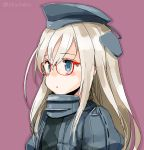 1girl bespectacled blonde_hair blue_eyes blush garrison_cap glasses hat kantai_collection long_hair looking_away parted_lips purple_background red-framed_eyewear solo suka twitter_username u-511_(kantai_collection) upper_body