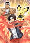 2boys armband brown_hair cosplay crossed_arms daimon_gorou fingerless_gloves fire gloves headband highres kicdon kusanagi_kyou multiple_boys nikaidou_benimaru nikaidou_benimaru_(cosplay) pichu pokemon school_uniform the_king_of_fighters