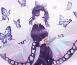 1girl animal_print bangs black_coat black_hair black_pants breasts bug butterfly butterfly_hair_ornament butterfly_print coat cowboy_shot gradient_hair hair_ornament haori insect japanese_clothes katana kimetsu_no_yaiba kochou_shinobu looking_at_viewer medium_breasts multicolored_hair pants parted_bangs purple_hair riri_(ririwaldorf) scabbard sheath sheathed short_hair smile solo sword two-tone_hair uniform weapon