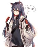 1girl animal_ear_fluff animal_ears arknights black_hair brown_eyes eyebrows_visible_through_hair food food_in_mouth gloves hair_between_eyes highres holding holding_food jacket jewelry kinona long_hair long_sleeves looking_at_viewer name_tag necklace pocky red_gloves simple_background solo texas_(arknights) white_background white_jacket wolf_ears