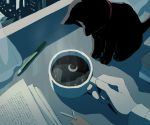 animal animal_focus avogado6 backlighting black_cat book bookmark cat cat_focus coffee coffee_mug cup curtains desk drink holding holding_cup indoors long_sleeves mug night open_book original out_of_frame pencil pov pov_hands reflection window