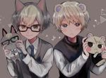 2boys animal_ears bangs blonde_hair blue_neckwear blush cat_boy cat_ears character_doll doubutsu_no_mori glasses green_eyes heterochromia highres humanization jack_(doubutsu_no_mori) jun_(doubutsu_no_mori) long_sleeves looking_at_viewer male_focus medupitta multiple_boys necktie shirt squirrel_ears thick_eyebrows vest white_shirt