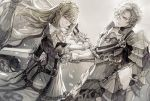 1boy 1girl armor blonde_hair breastplate cape closed_mouth dress gauntlets holding holding_sword holding_weapon original pauldrons petals senano-yu sword weapon white_cape white_dress white_eyes white_hair yellow_eyes