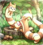 :d black_eyes commentary day english_commentary eye_contact food forest fruit furret gen_2_pokemon gift grass happy highres looking_at_another mouth_hold mushroom nature open_mouth otakuap outdoors peach pecha_berry plant pokemon rock smile tree