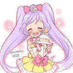 1girl birthday_cake cake closed_eyes dress food heart_mouth kanya_pyi lavender_hair manaka_lala pretty_(series) pripara ribbon solo twintails white_background