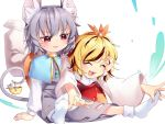 2girls animal_ears bangs basket blonde_hair blue_capelet blush capelet closed_eyes commentary_request eyebrows_visible_through_hair fang grey_hair grey_shirt grey_skirt hand_on_another's_head highres jewelry kibayashi_kimori long_sleeves looking_at_another lower_teeth lying_on_person mouse mouse_ears mouse_tail multicolored_hair multiple_girls nazrin no_shoes on_ground open_mouth outstretched_arms outstretched_legs pants parted_lips pendant red_eyes red_skirt red_vest shirt short_hair simple_background sitting skirt skirt_set socks streaked_hair sweatdrop tail toramaru_shou touhou vest white_background white_legwear white_pants white_shirt