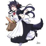 1girl animal_ears apron bag baguette black_hair bread breasts commentary_request dress ejami ekko_(ejami) food fox_ears fox_girl fox_tail frilled_sleeves frills groceries grocery_bag long_hair maid maid_dress maid_headdress open_mouth original red_eyes running shopping_bag short_sleeves tail
