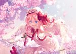 1girl alternate_wings arms_up bird blonde_hair blue_eyes blue_sky blurry bokeh capelet cherry_blossoms commentary_request day depth_of_field eurasian_tree_sparrow feathered_wings floating frilled_capelet frilled_sleeves frills hair_between_eyes hand_on_own_cheek hat hat_ribbon highres kemo_chiharu leaning_forward lens_flare lily_white long_sleeves looking_at_viewer open_mouth outdoors ribbon shirt sidelocks signature skirt sky solo sparrow spring_(season) touhou transparent_wings tree_branch white_capelet white_headwear white_shirt white_skirt wide_sleeves wings