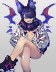 1girl animal_ears bare_legs bat_wings blue_hair crossed_legs ear_piercing fang fur_trim hands_in_pockets highres jacket looking_at_viewer natsuiro_xx one_eye_covered open_clothes open_jacket original piercing shoes short_hair simple_background sneakers solo tongue_piercing wings