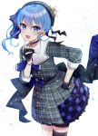 1girl :d absurdres bangs beret black_gloves black_legwear blue_bow blue_choker blue_eyes blue_hair blue_nails blue_neckwear blush bow choker collarbone collared_shirt commentary_request eyebrows_visible_through_hair gloves grey_headwear grey_jacket grey_skirt hair_between_eyes hair_bow hand_on_hip hand_up hat highres hololive hoshimachi_suisei huge_filesize index_finger_raised jacket long_hair nail_polish neginoki open_mouth partly_fingerless_gloves plaid plaid_hat plaid_jacket plaid_skirt pleated_skirt round_teeth shirt side_ponytail single_thighhigh skirt smile solo star star_in_eye striped striped_bow suisei_channel symbol_in_eye teeth thigh-highs upper_teeth virtual_youtuber white_shirt