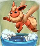 bath brown_eyes closed_mouth commentary creature dirty english_commentary flareon gen_1_pokemon holding holding_pokemon motion_lines otakuap pokemon pokemon_(creature) solo_focus water