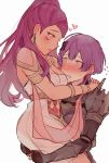2girls @_@ armlet armor bernadetta_von_varley blush carrying dancer dark_skin dress earrings facial_mark fire_emblem fire_emblem:_three_houses from_side grey_eyes hair_ornament jewelry kvlen long_hair multiple_girls open_mouth petra_macneary ponytail purple_hair simple_background white_background yuri