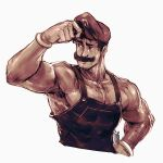 1boy armpit_hair chest_hair commentary david_liu english_commentary facial_hair gloves hat highres male_focus manly mario mario_(series) muscle mustache overalls shirtless solo super_mario_bros. sweat thick_eyebrows upper_body white_gloves