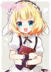 1girl aqua_eyes artist_name blonde_hair blush character_name eyebrows_visible_through_hair fleur_de_lapin_uniform gochuumon_wa_usagi_desu_ka? happy_birthday holding holding_menu kirima_sharo looking_at_viewer menu mozukun43 open_mouth puffy_short_sleeves puffy_sleeves short_hair short_sleeves smile solo twitter_username upper_body wavy_hair wrist_cuffs