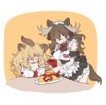 010mzam 2girls alternate_costume animal_ears back_bow black_bow black_dress blonde_hair bow bowtie brown_hair closed_eyes commentary_request detached_sleeves dress enmaided extra_ears fang food frilled_dress frills fur_collar hair_tie kemono_friends ketchup lion_(kemono_friends) lion_ears lion_girl long_hair maid maid_cafe maid_dress maid_headdress moose_(kemono_friends) moose_ears moose_girl moose_tail multiple_girls necktie omurice open_mouth plaid_neckwear plaid_trim pleated_dress puffy_short_sleeves puffy_sleeves red_neckwear shirt short_sleeves sitting sleeve_cuffs sweatdrop table tail white_frills white_shirt