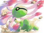 commentary_request cradily dust from_below gen_3_pokemon kira_(kira_dra) motion_blur no_humans pokemon pokemon_(creature) rock solo tentacles yellow_eyes
