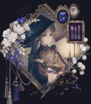 1girl absurdres black_gloves black_hair brooch bug butterfly candle candlelight earrings flower fork frame gloves hat highres holding insect jewelry knife long_hair original picture_frame ring scissors solo spoon tassel twintails witch_hat yoggi_(stretchmen)