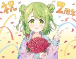 1girl :d anniversary bangs blush bouquet bow braid brown_background commentary_request confetti double_bun eyebrows_visible_through_hair flower gradient gradient_background green_eyes green_hair hair_bow hand_up holding holding_bouquet hood hood_down hooded_jacket jacket long_sleeves looking_at_viewer meito_(maze) morinaka_kazaki nijisanji open_mouth pink_jacket purple_bow red_flower red_rose rose single_braid sleeves_past_wrists smile solo streamers swept_bangs translation_request upper_body v virtual_youtuber white_background