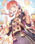 1girl annette_fantine_dominic blue_eyes dessert doughnut fire_emblem fire_emblem:_three_houses food fruit garreg_mach_monastery_uniform long_sleeves musical_note open_mouth orange_hair paula_biedma solo strawberry twintails twitter_username uniform