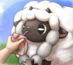 black_eyes blue_sky closed_mouth commentary creature day drinking drinking_straw english_commentary food fruit gen_8_pokemon highres horns juice_box otakuap peach pecha_berry pokemon pokemon_(creature) sheep sky wooloo