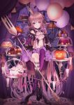 1girl :p absurdres balloon black_footwear blue_eyes bow braid brown_hair cake candle candy cupcake detached_sleeves floating floating_object food fork gloves hair_bow highres holding holding_fork horns indoors jack-o'-lantern lollipop long_hair macaron midriff mismatched_legwear nanase_subaru nanase_subaru_(channel) navel pumpkin sitting solo tongue tongue_out virtual_youtuber window yoggi_(stretchmen)