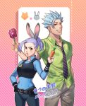 1boy 1girl animal_ears ban_(nanatsu_no_taizai) candy carrot cosplay disney food foxvulpine grin jericho_(nanatsu_no_taizai) judy_hopps judy_hopps_(cosplay) lavender_hair light_blue_hair lollipop long_hair looking_at_viewer nanatsu_no_taizai necktie nick_wilde nick_wilde_(cosplay) police police_uniform policewoman ponytail rabbit_ears red_eyes shirt short_ponytail smile spiky_hair uniform yellow_eyes zootopia