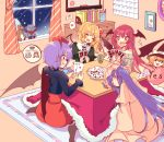 4girls alternate_costume aran_sweater bat_wings black_shirt blonde_hair blue_ribbon blush book bow calendar_(object) card character_doll chest_of_drawers clock closed_eyes commentary_request crystal cup dress fang flandre_scarlet flying_sweatdrops grin hair_bow hair_ribbon hands_up hat hat_ribbon head_wings heart heart_pillow hobgoblin_(touhou) holding holding_card indoors kirero koakuma kotatsu long_hair long_sleeves mob_cap multiple_girls off-shoulder_sweater off_shoulder open_mouth patchouli_knowledge picture_(object) pillow pink_dress pink_headwear playing_card playing_games pointy_ears purple_hair red_bow red_eyes red_ribbon red_skirt redhead remilia_scarlet ribbon shirt short_hair side_ponytail sitting skirt sleeping smile speech_bubble spoken_heart sweater table tearing_up touhou translated wariza whiteboard wings witch_hat yes yes-no_pillow yunomi zzz