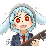 1girl animal_ears avatar_icon blue_hair chamaji collared_shirt commentary eyebrows_visible_through_hair gun hat holding holding_gun holding_weapon jacket light_blue_hair looking_at_viewer lowres moon_print necktie open_mouth rabbit_ears red_eyes red_neckwear reisen rifle shirt short_hair signature solo sweatdrop touhou weapon white_background