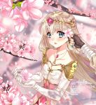 1girl artist_name bangs bare_shoulders black_gloves blonde_hair breasts collarbone dress eyebrows_visible_through_hair fingerless_gloves flower gem gloves green_eyes highres holding holding_flower jewelry lazoomaiga long_hair looking_at_viewer medium_breasts necklace nintendo open_mouth pink_flower pointy_ears princess_zelda signature solo_focus the_legend_of_zelda triforce watermark web_address