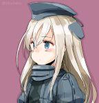 1girl blonde_hair blue_eyes blush garrison_cap hat kantai_collection long_hair looking_away purple_background solo suka twitter_username u-511_(kantai_collection) upper_body