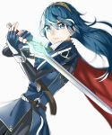 1girl absurdres belt blue_cape blue_eyes blue_gloves blue_hair blue_tunic blurry bodysuit_under_clothes breasts cape cowboy_shot depth_of_field eyelashes falchion_(fire_emblem) fingerless_gloves fire_emblem fire_emblem_awakening gloves glowing glowing_sword glowing_weapon hairband highres lips long_hair looking_at_viewer lucina lucina_(fire_emblem) simple_background small_breasts solo straight_hair sword symbol-shaped_pupils tpicm tunic weapon white_background wind